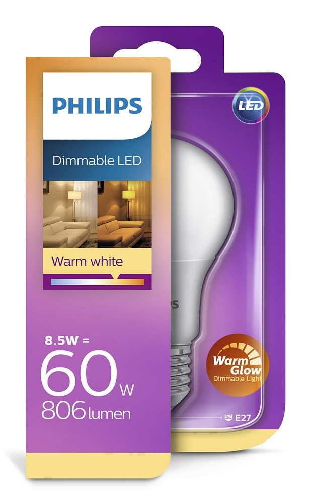 Philips LED 8,5W E27 Warm glow