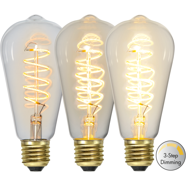 Edison LED E27 Decoled spiral 3-stegs dim