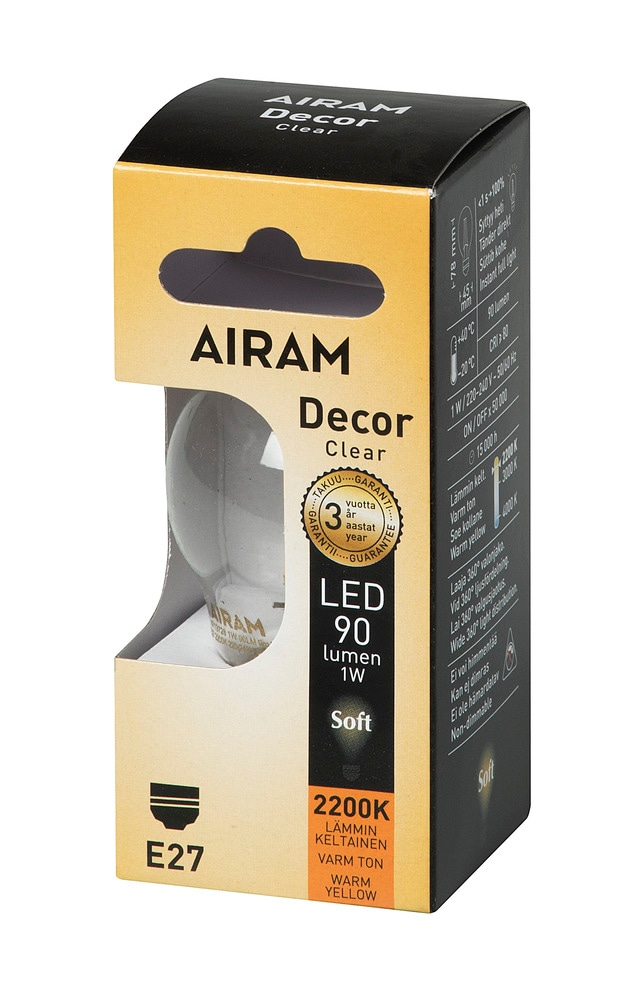 Klotlampa decor LED 1W E27